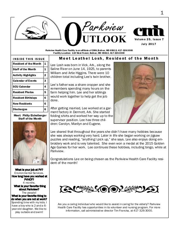 Parkview Healthcare Facility's Parkview Outlook July 2017