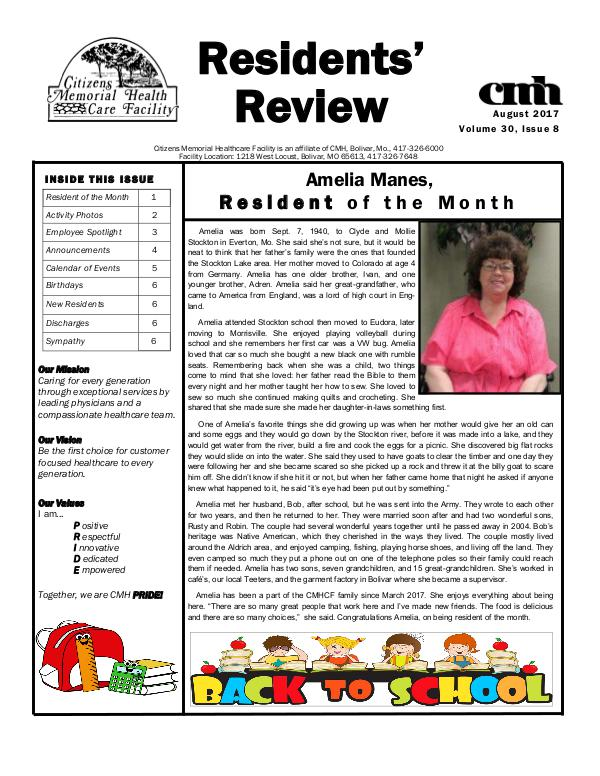 CMHCF Residents' Review August 2017