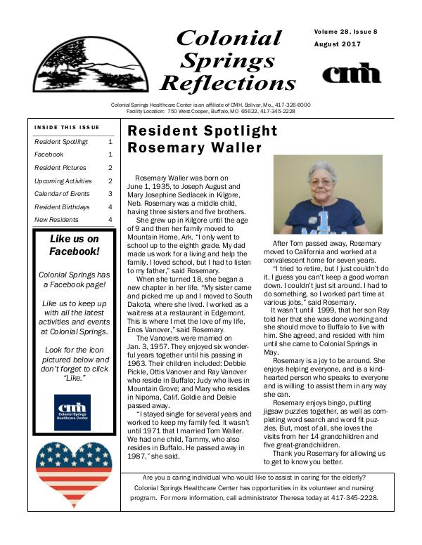 Colonial Springs Reflections August 2017