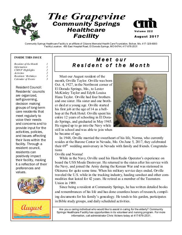 Community Springs Healthcare Facility's The Grapevine August 2017