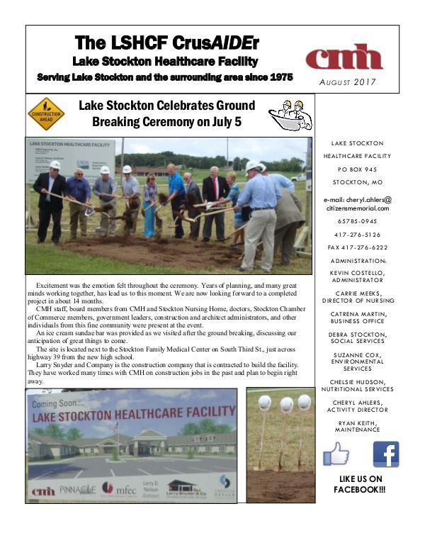 Lake Stockton Healthcare Facility eNewsletter August 2017