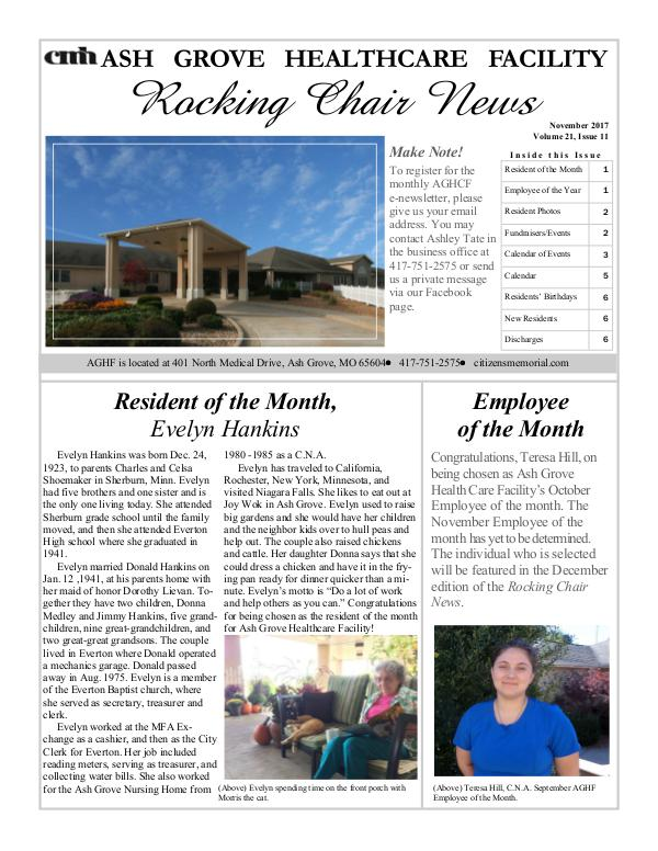 Ash Grove Healthcare Facility's Rocking Chair News November 2017