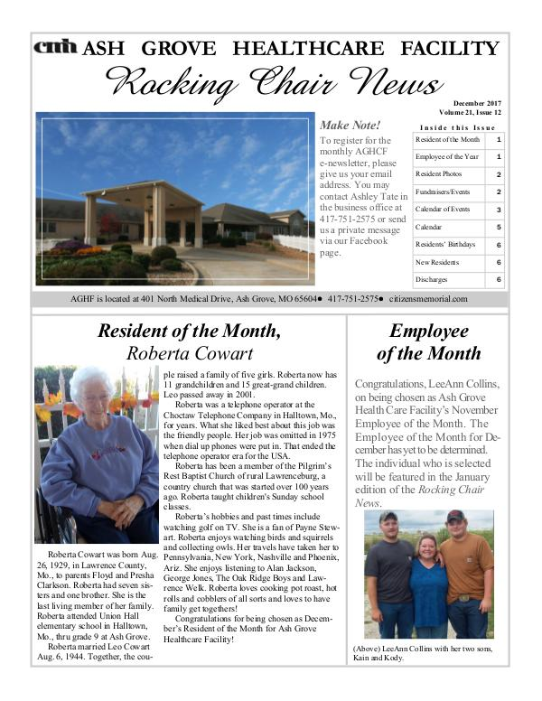 Ash Grove Healthcare Facility's Rocking Chair News December 2017