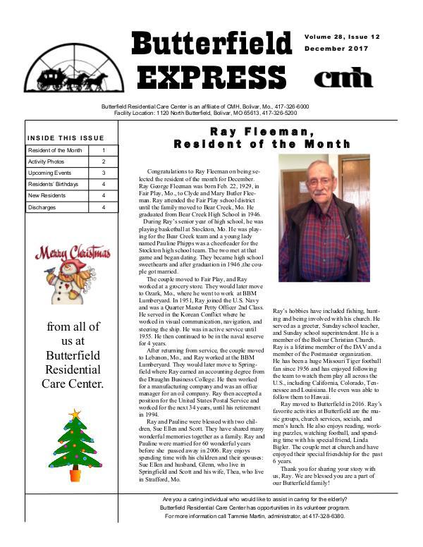 Butterfield Residential Care Center's Butterfield Express December 2017