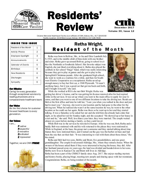 CMHCF Residents' Review December 2017