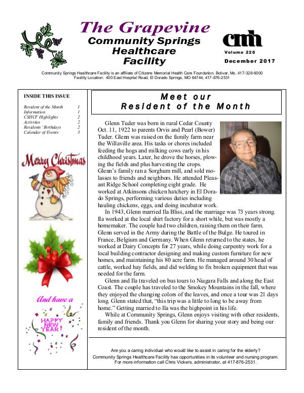 Community Springs Healthcare Facility's The Grapevine December 2017