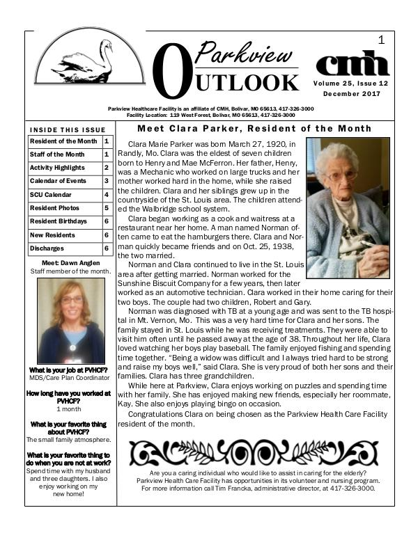 Parkview Healthcare Facility's Parkview Outlook December 2017