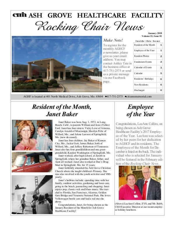 Ash Grove Healthcare Facility's Rocking Chair News January 2018