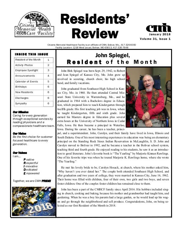 CMHCF Residents' Review January 2018