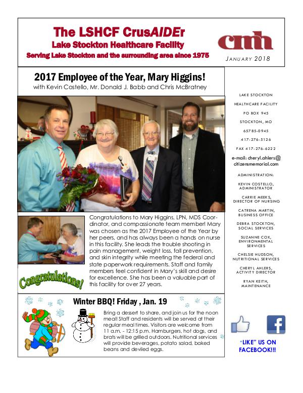 Lake Stockton Healthcare Facility eNewsletter January 2018