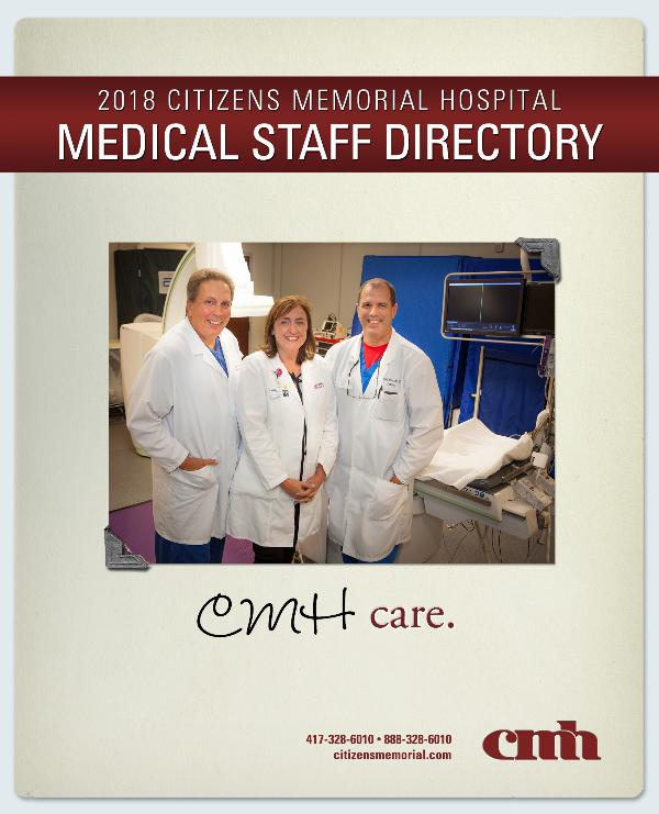 Citizens Memorial Hospital Medical Staff Directory 2018