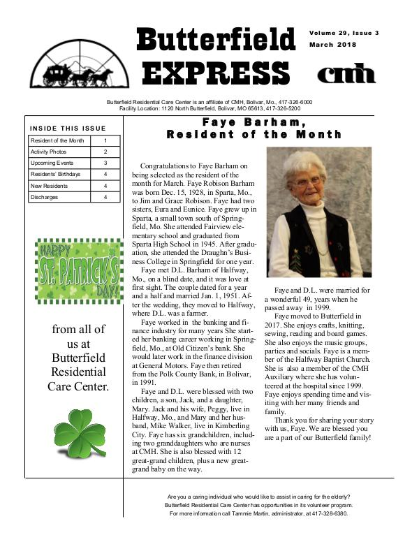 Butterfield Residential Care Center's Butterfield Express March 2018