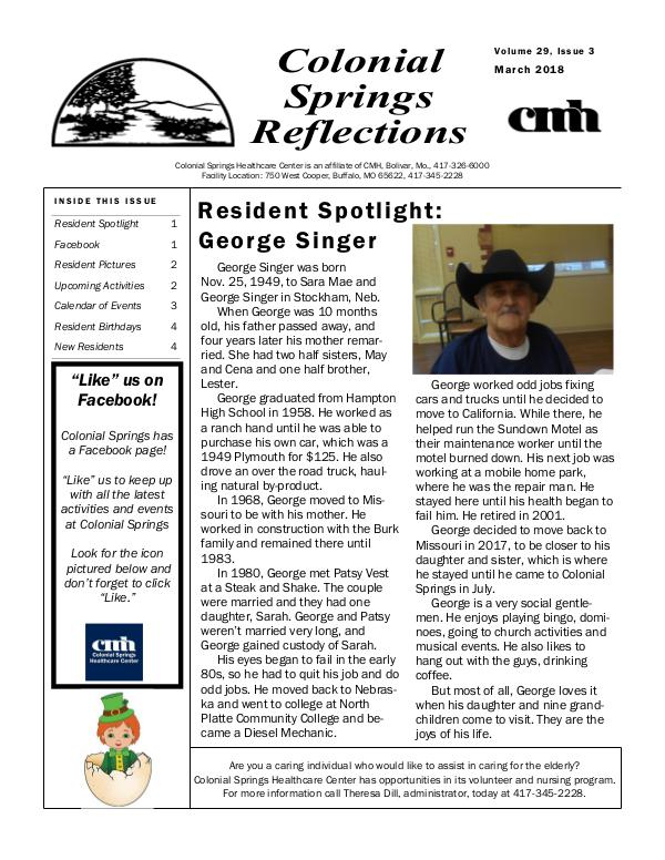 Colonial Springs Reflections March 2018