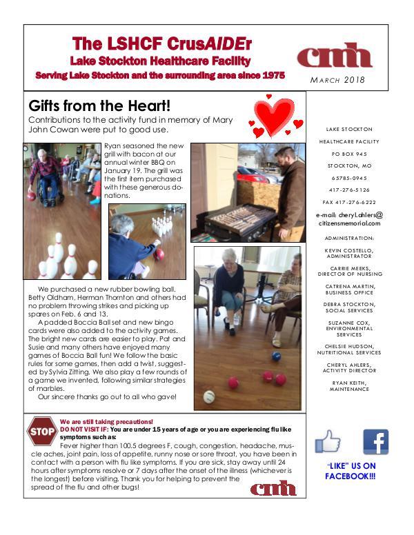 Lake Stockton Healthcare Facility eNewsletter March 2018