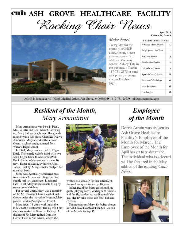 Ash Grove Healthcare Facility's Rocking Chair News April 2018