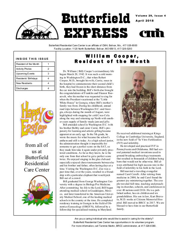Butterfield Residential Care Center's Butterfield Express April 2018
