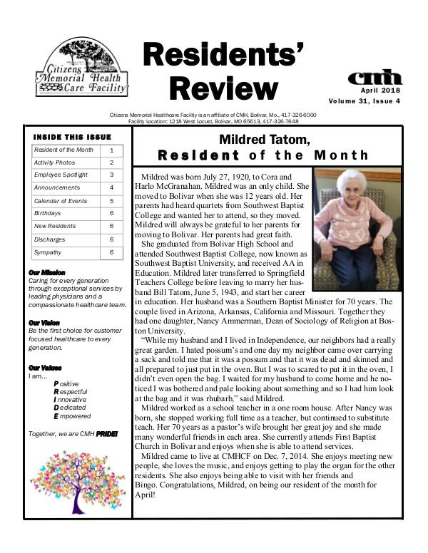 CMHCF Residents' Review April 2018