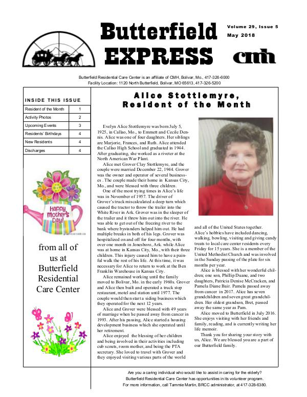 Butterfield Residential Care Center's Butterfield Express May 2018
