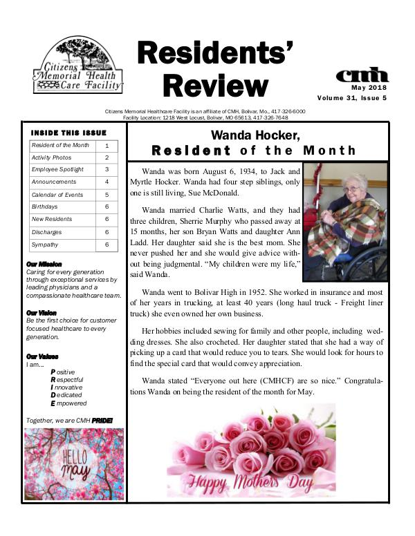 CMHCF Residents' Review May 2018
