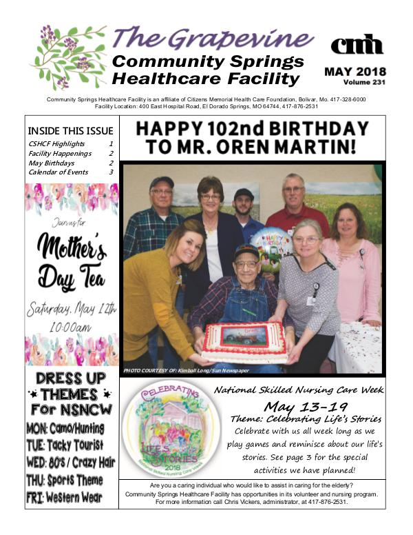Community Springs Healthcare Facility's The Grapevine May 2018