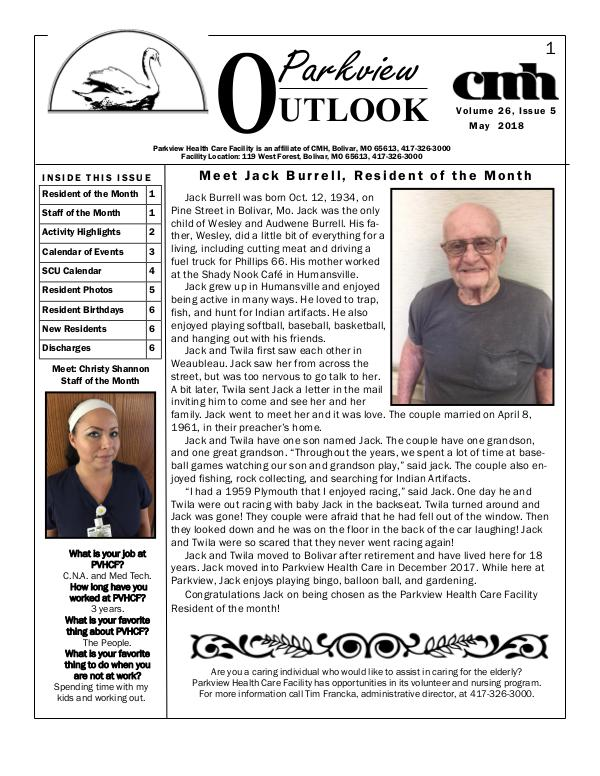 Parkview Healthcare Facility's Parkview Outlook May 2018