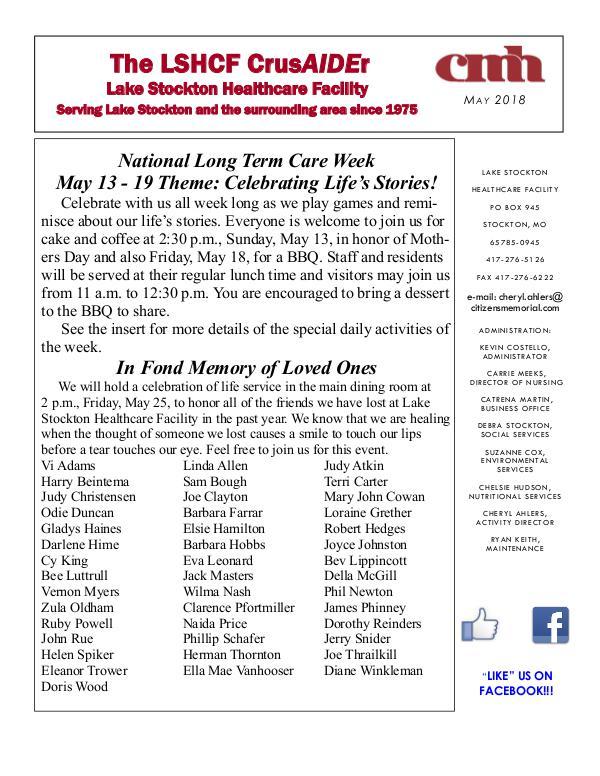 Lake Stockton Healthcare Facility eNewsletter May 2018