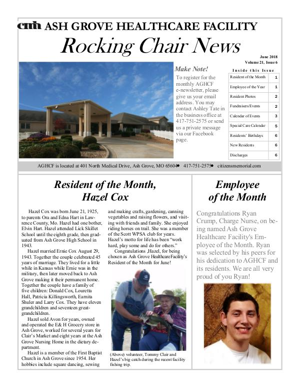 Ash Grove Healthcare Facility's Rocking Chair News June 2018