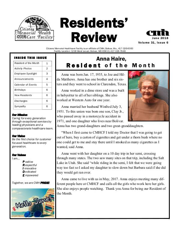 CMHCF Residents' Review June 2018