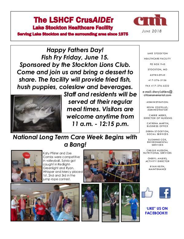 Lake Stockton Healthcare Facility eNewsletter June 2018