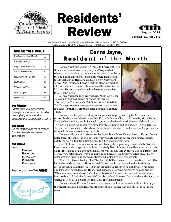 CMHCF Residents' Review August 2018