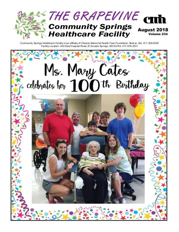 Community Springs Healthcare Facility's The Grapevine August 2018