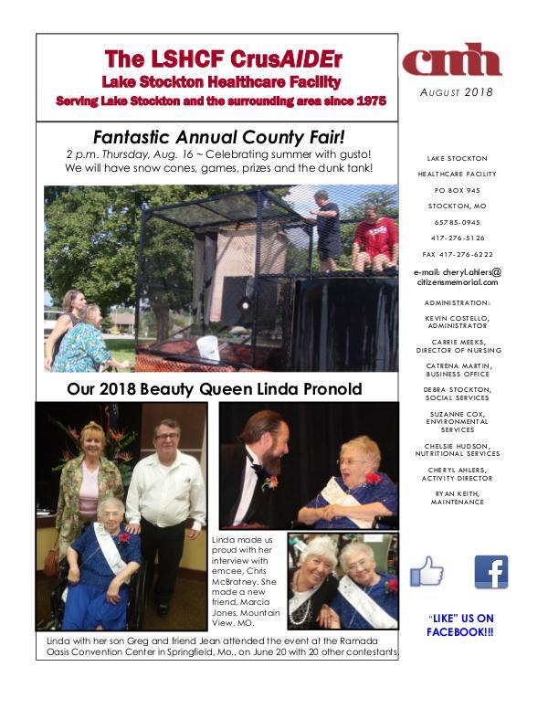 Lake Stockton Healthcare Facility eNewsletter August 2018