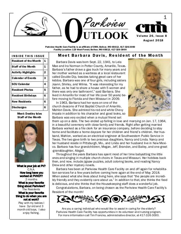 Parkview Healthcare Facility's Parkview Outlook August 2018
