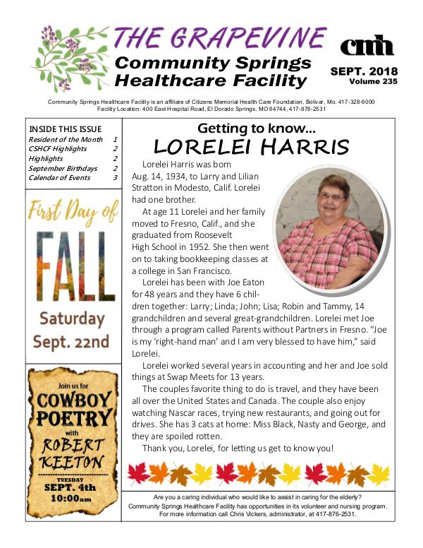 Community Springs Healthcare Facility's The Grapevine September 2018