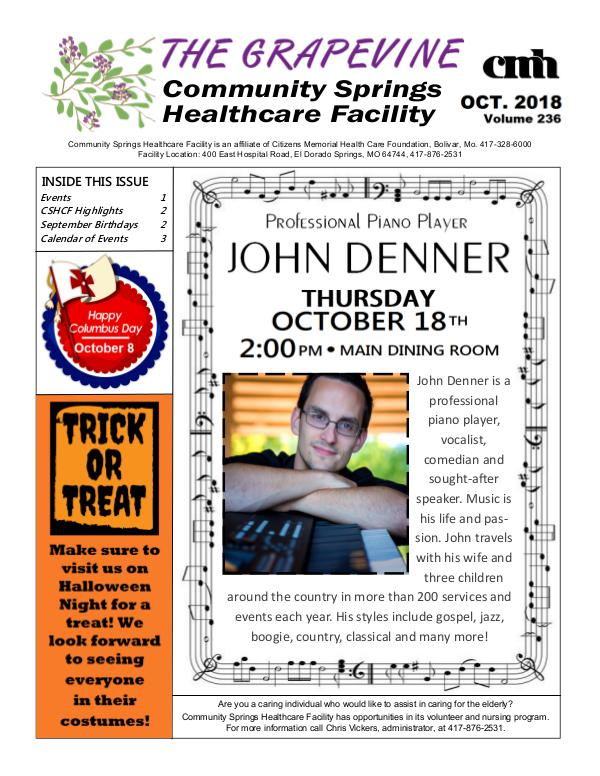 Community Springs Healthcare Facility's The Grapevine October 2018