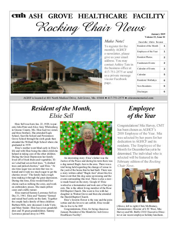 Ash Grove Healthcare Facility's Rocking Chair News January 2019