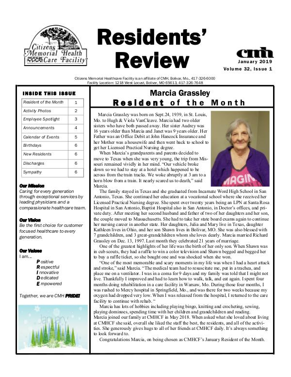 CMHCF Residents' Review January 2019