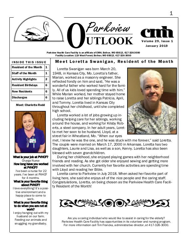 Parkview Healthcare Facility's Parkview Outlook January 2019