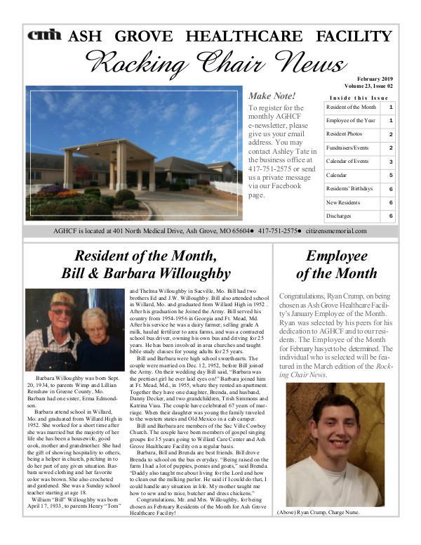 Ash Grove Healthcare Facility's Rocking Chair News February 2019