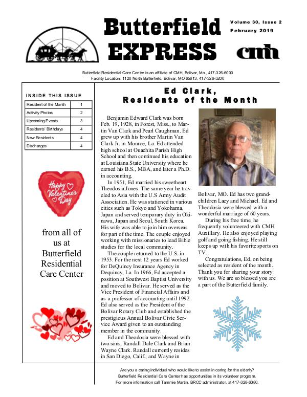 Butterfield Residential Care Center's Butterfield Express February 2019