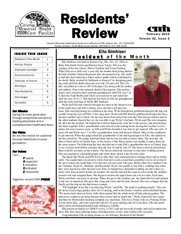 CMHCF Residents' Review February 2019
