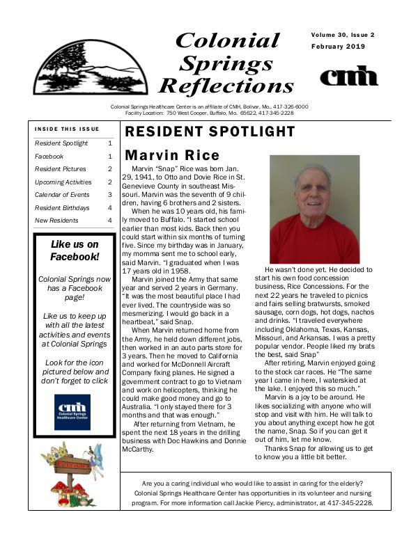 Colonial Springs Reflections February 2019