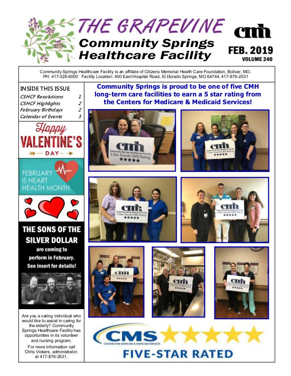 Community Springs Healthcare Facility's The Grapevine February 2019