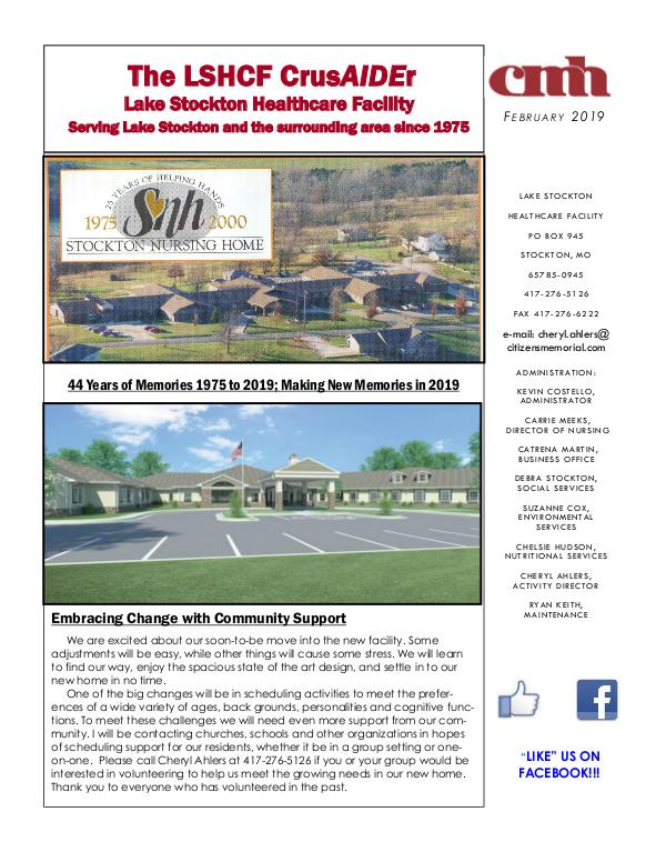 Lake Stockton Healthcare Facility eNewsletter February 2019