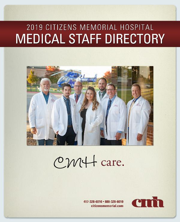 Citizens Memorial Hospital Medical Staff Directory 2019