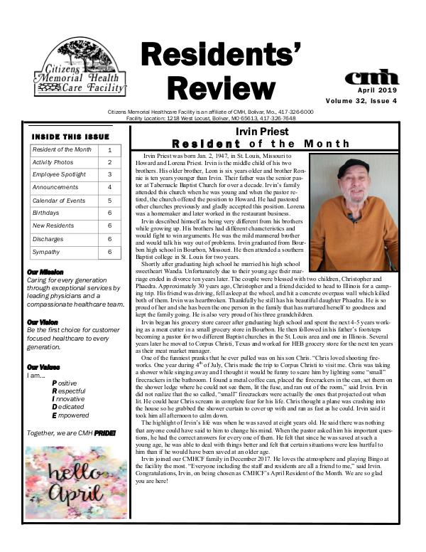 CMHCF Residents' Review April 2019