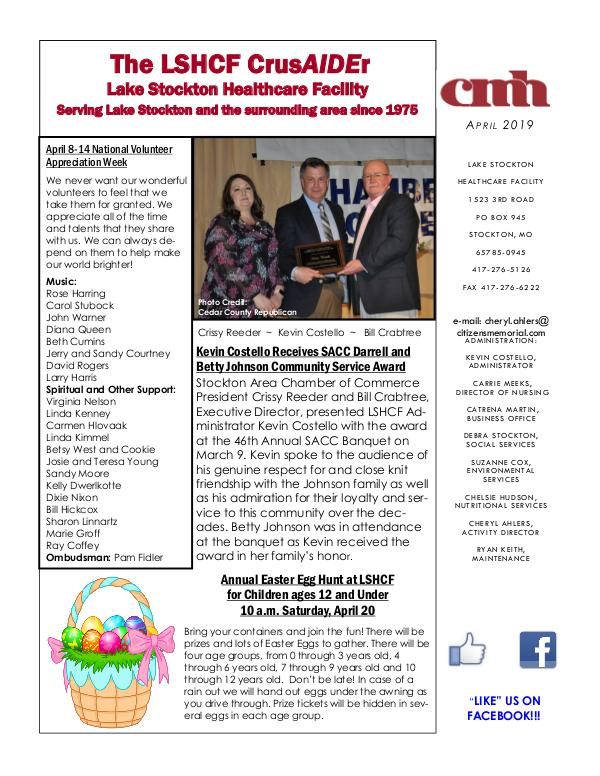 Lake Stockton Healthcare Facility eNewsletter April 2019