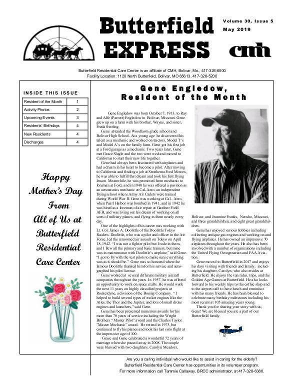 Butterfield Residential Care Center's Butterfield Express May 2019