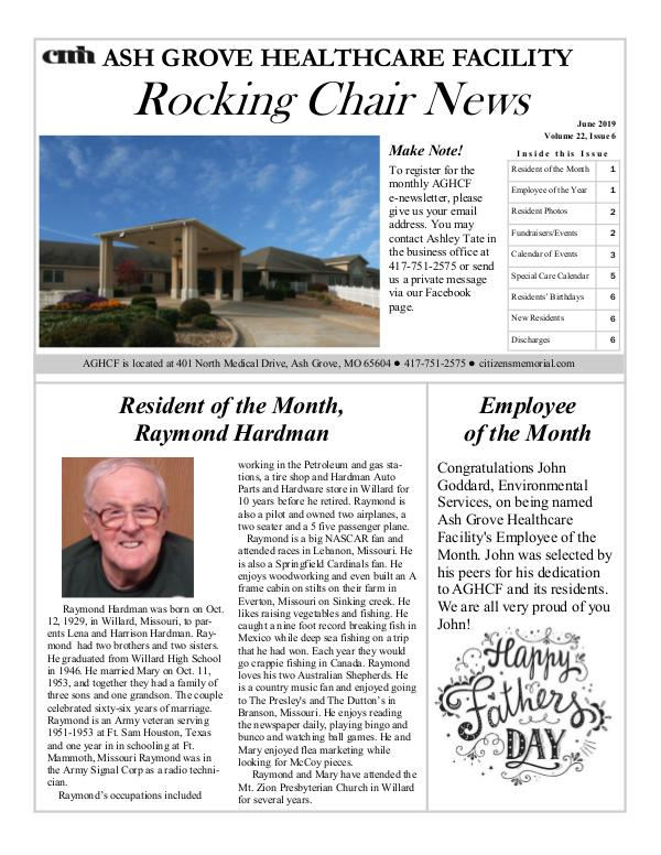 Ash Grove Healthcare Facility's Rocking Chair News June 2019