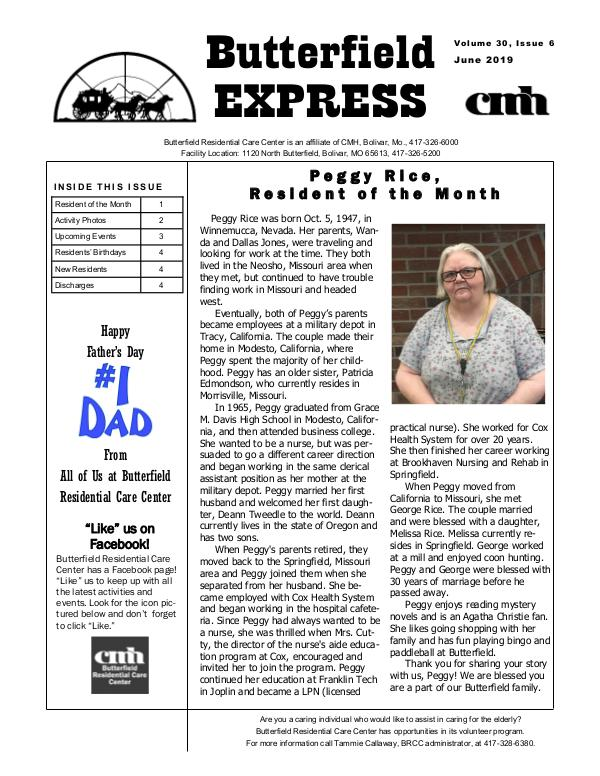 Butterfield Residential Care Center's Butterfield Express June 2019